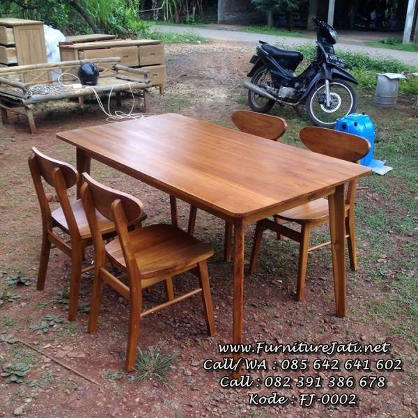 Set Meja Kursi Cafe Kayu Jati Terbaru FJ-0002