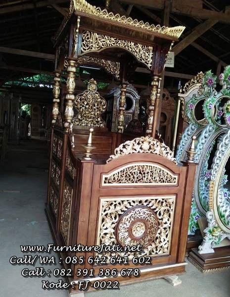 Mimbar Masjid Kaligrafi Ukiran Jepara