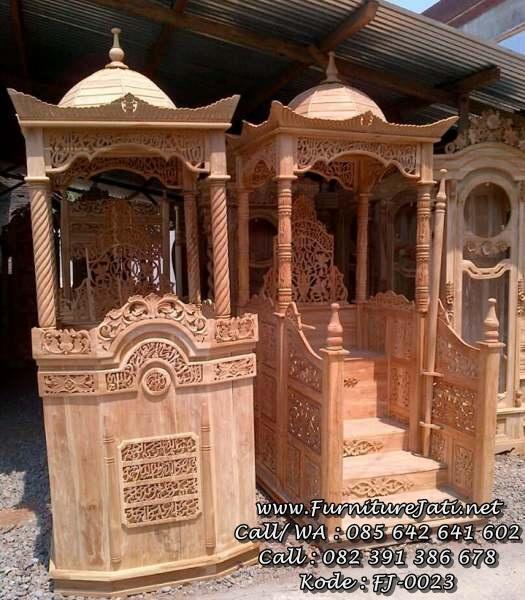 Model Mimbar Masjid Jati Ukiran Kubah