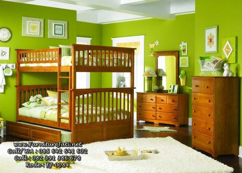 Kamar Set Tempat Tidur Anak Tingkat Jati