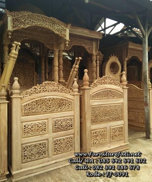 Model Mimbar Masjid Kayu Jati Ukiran
