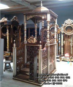 Model Mimbar Masjid Kubah Ukiran Emas