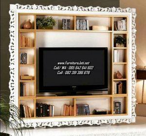 Bufet TV Minimalis Rak Buku Ukiran