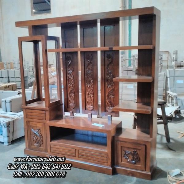 Partisi Ruang Tamu Minimalis Kayu Jati Furniture Jati Jepara