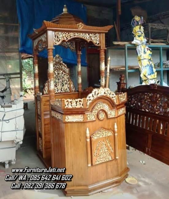 Jual Mimbar Masjid Ukiran Kayu Jati Jepara