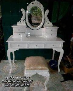 Meja Rias Ukiran Warna Putih Duco