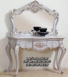 Meja Rias Cermin Ukiran Mewah Putih
